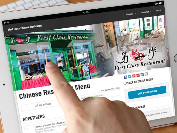 Portfolio First Class Restaurant Tablet Website - Zinpify, Milton Keynes
