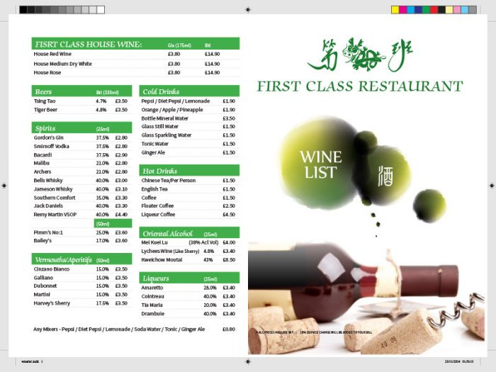 Portfolio First Class Restaurant Wine List - Zinpify, Milton Keynes