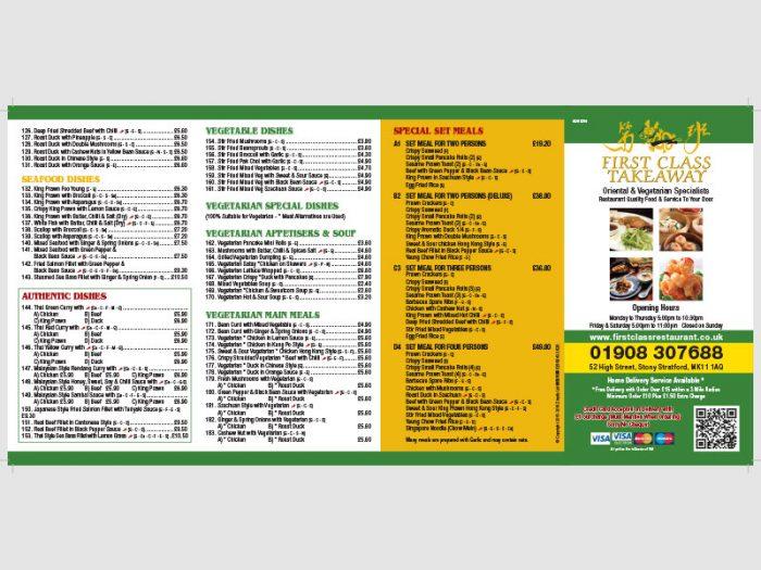 Portfolio First Class Restaurant Takeaway Menu - Zinpify, Milton Keynes