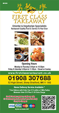 First Class Takeaway Menu - Zinpify, Milton Keynes